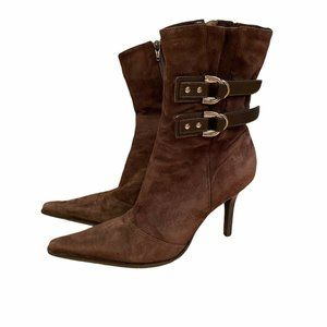 Diba   Pointed Toe Brown Suede Leather Boots 7.5